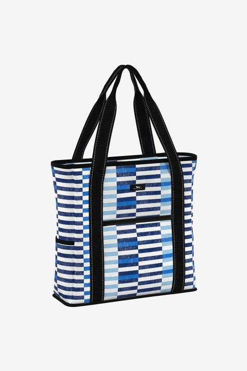 A blue and white striped soft cooler