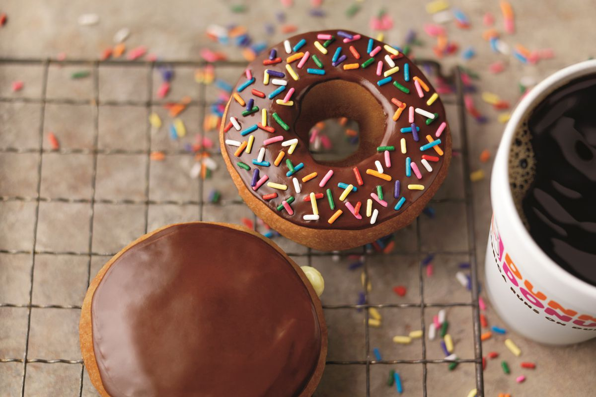 Doughnuts and coffee from Dunkin' Donuts