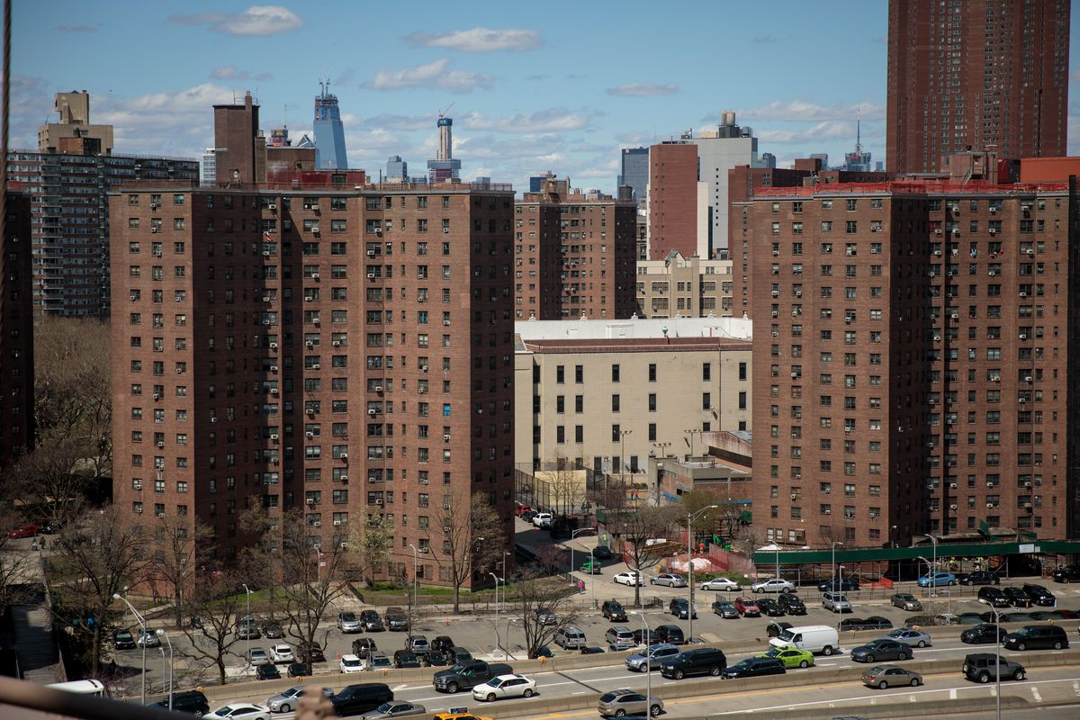 Brown public housing units in Manhattan, New York City.