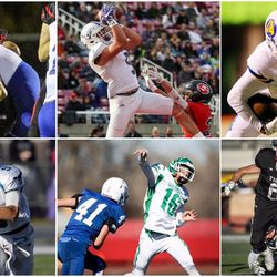 Clockwise from upper left: Simote Pepa, Bingham; Dallin Holker, Lehi; Puka Nacua, Orem; Ty Netto, Milford, Kael Atkinson, South Summit; Zach Hoffman, Juan Diego.