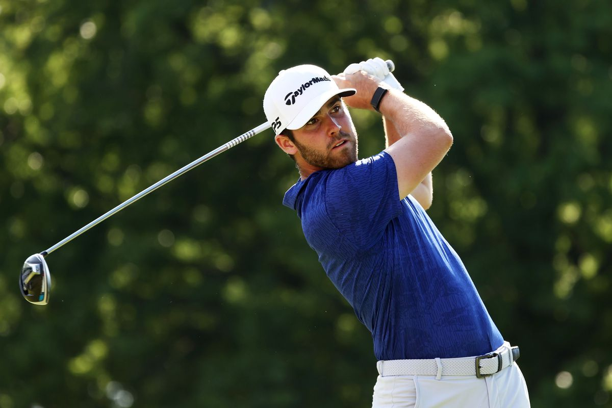 Matthew Wolff of the United States plays his shot from the 18th tee during the third round of the Rocket Mortgage Classic on July 04, 2020 at the Detroit Golf Club in Detroit, Michigan.