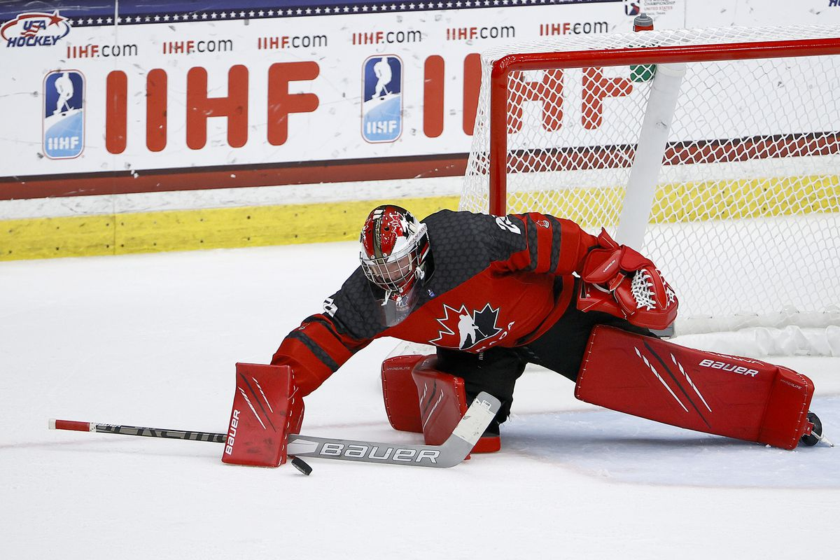 Benjamin Gaudreau #29 of Canada blocka a shot on goal against Russia in the third period during the 2021 IIHF Ice Hockey U18 World Championship Gold Medal Game at Comerica Center on May 06, 2021 in Frisco, Texas.