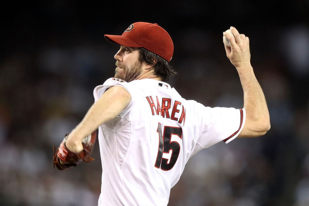 PHOENIX - JUNE 22:  Starting pitcher Dan Haren #15 of the Arizona Diamondbacks pitches against the New York Yankees during the Major League Baseball game at Chase Field on June 22, 2010 in Phoenix, Arizona.  (Photo by Christian Petersen/Getty Images)