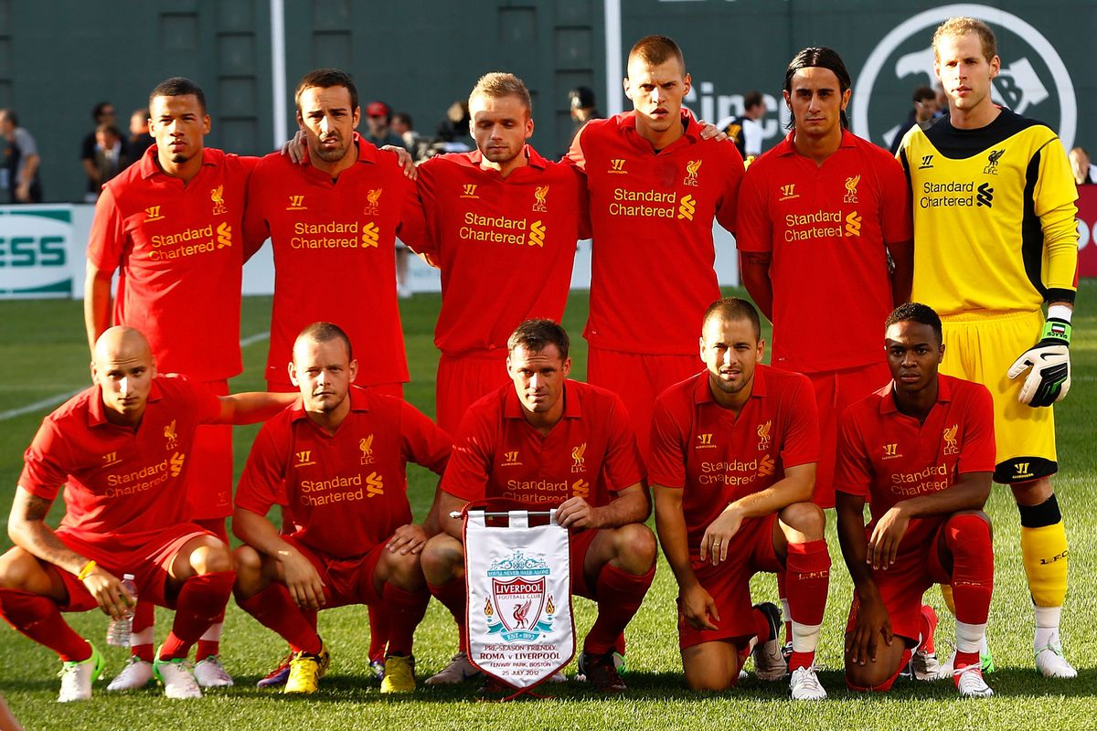 BOSTON, MA - JULY 25:  Liverpool poses for a team portrait prior to the pre-season tour friendly match against AS Roma on July 25, 2012 at Fenway Park in Boston, Massachusetts.  (Photo by Jared Wickerham/Getty Images)