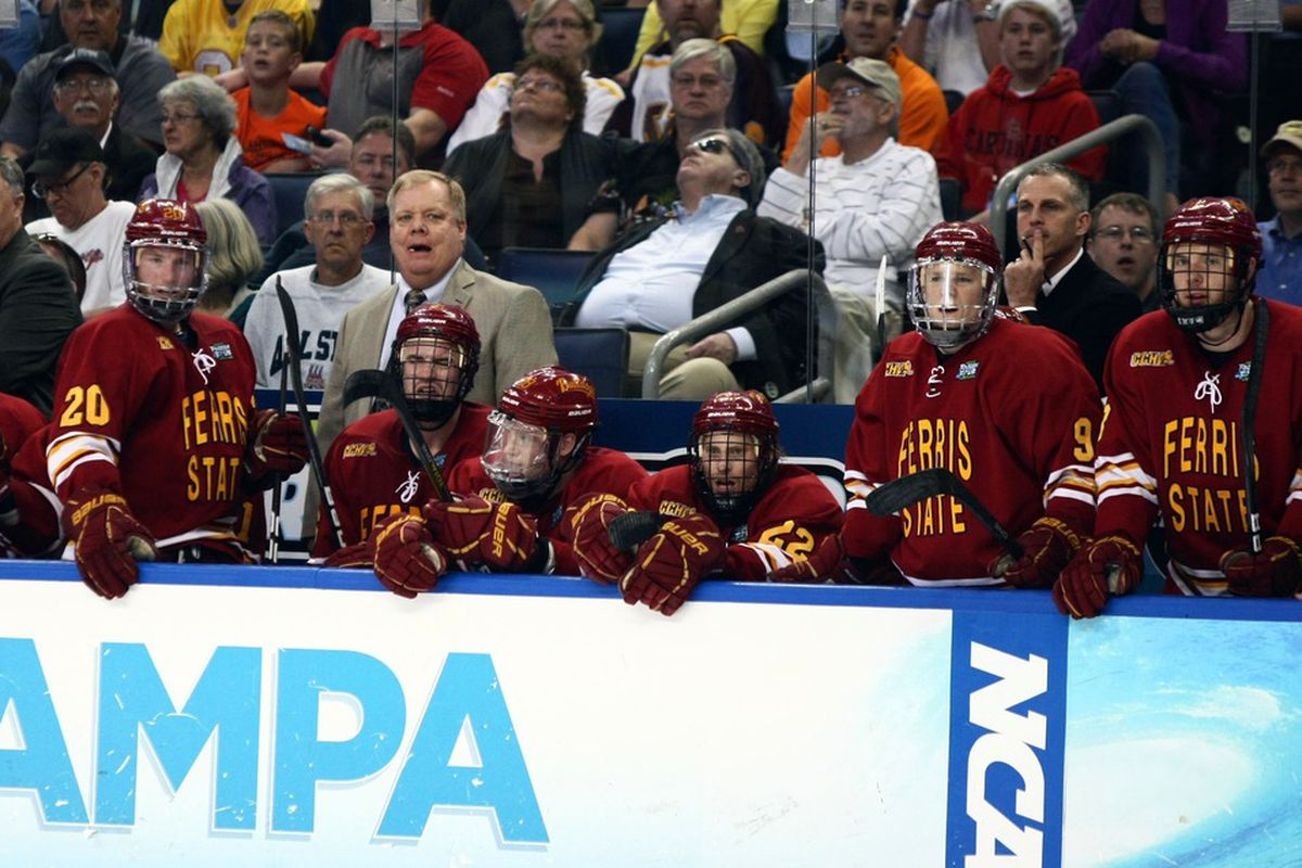 Ferris State coach Bob Daniels behind the bench at the 2012 NCAA Frozen Four in Tampa, Fla.