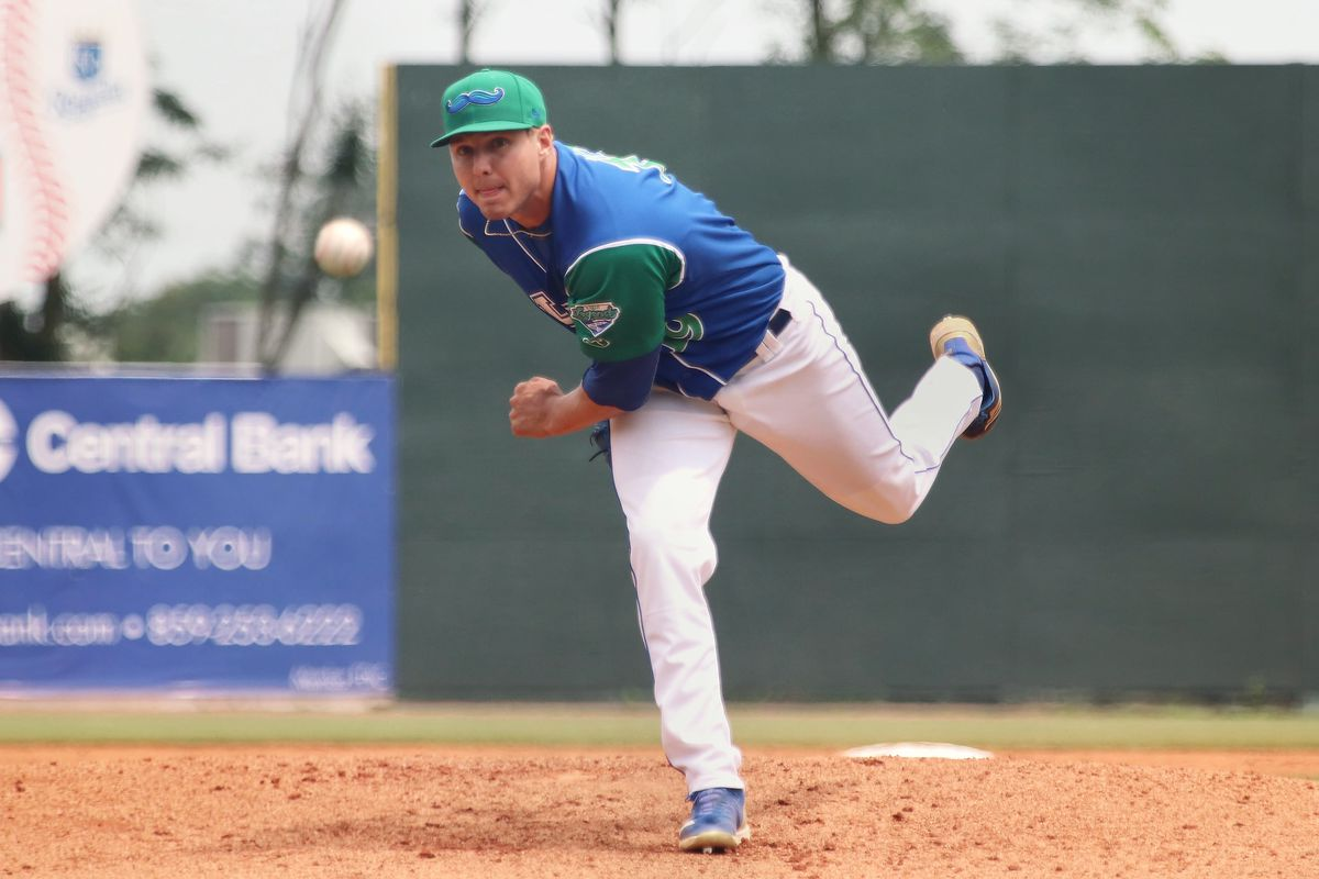 Pitcher Evan Steele in a game for the Lexington Legends on June 12, 2019