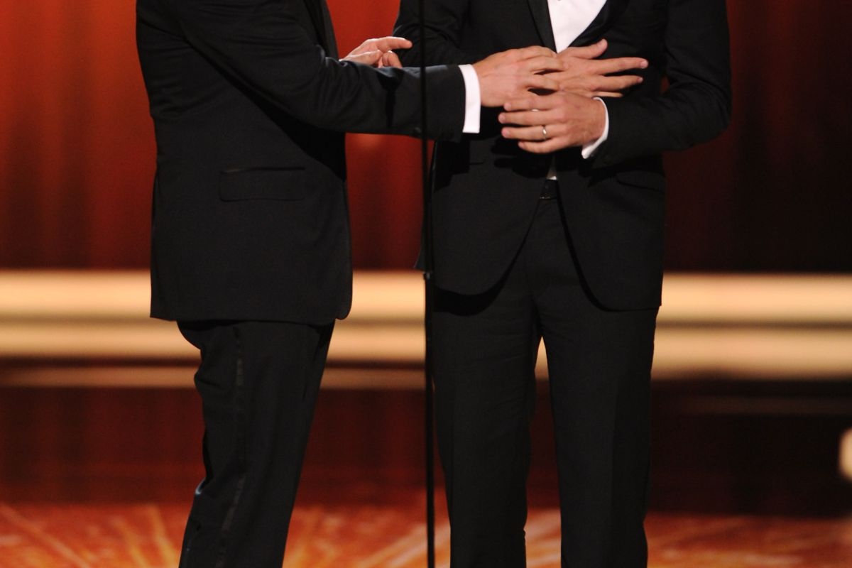 Jimmy Kimmel and Jimmy Fallon presenting onstage at the Academy of Television Arts & Sciences 63rd Primetime Emmy Awards at Nokia Theatre L.A. Live on Sept. 18, 2011, in Los Angeles.