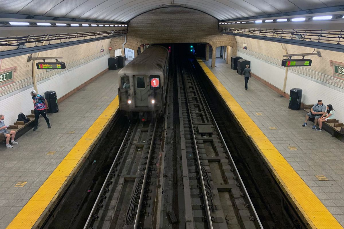A 1 train pulls into the 168th Street station in Manhattan, July 1, 2021.