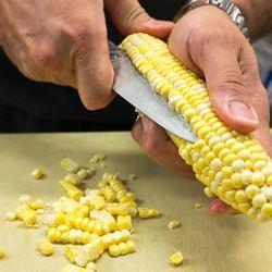 """Cutting """"perfect"""" corn."""