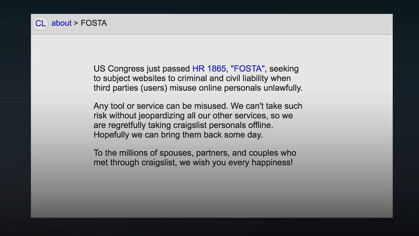 FOSTA-SESTA, a law intended to curb sex trafficking