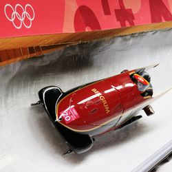 Sophie Vercruyssen in the two-woman bobsled.