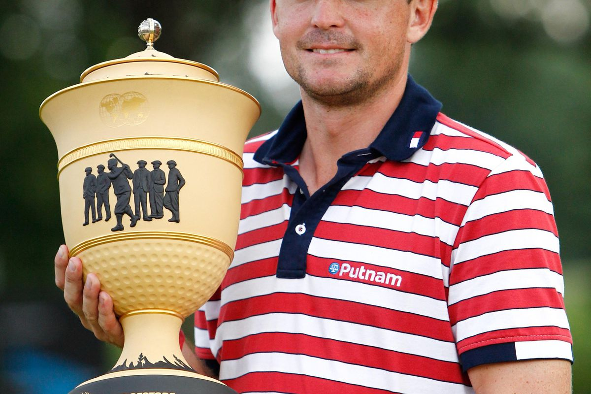 Aug. 5, 2012; Akron, OH, USA; Keegan Bradley with the trophy after winning the WGC-Bridgestone Invitational at Firestone Country Club-South Course. Debby Wong-US PRESSWIRE
