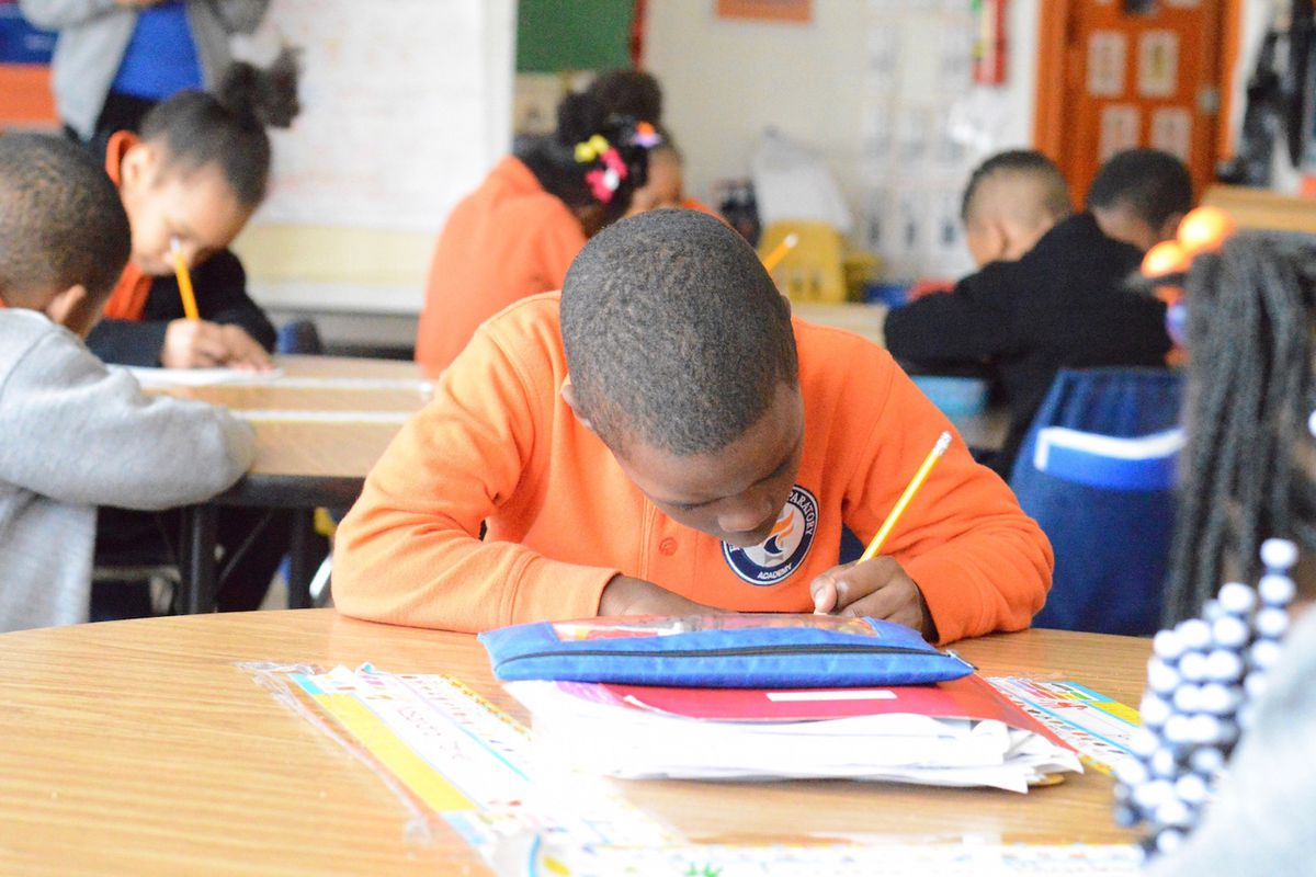 A student at work at Freedom Preparatory Academy in Memphis.