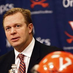 Virginia head football coach Bronco Mendenhall speaks during a press conference on national signing day on Wednesday, Feb. 3, 2016 in Charlottesville, Va.