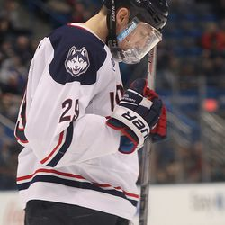 UConn's Tage Thompson (29) celebrates after his power play goal.