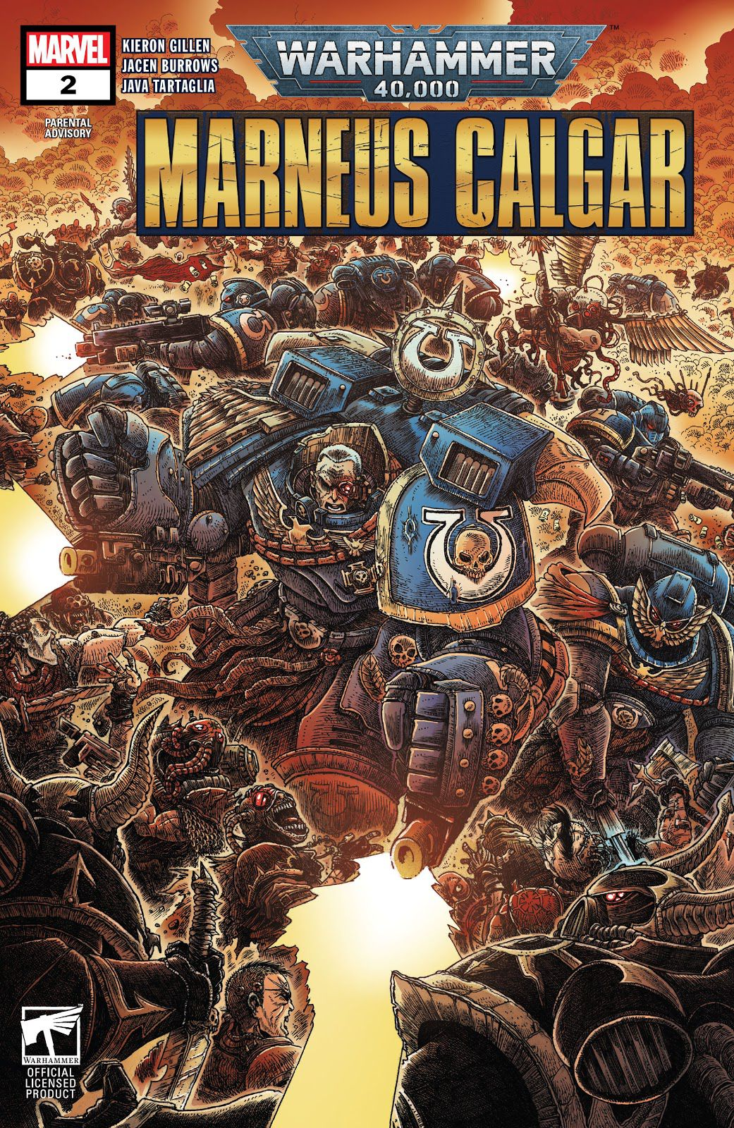 Cover art for Marneus Calgar #2 shows an angry blue space boy going pew pew.