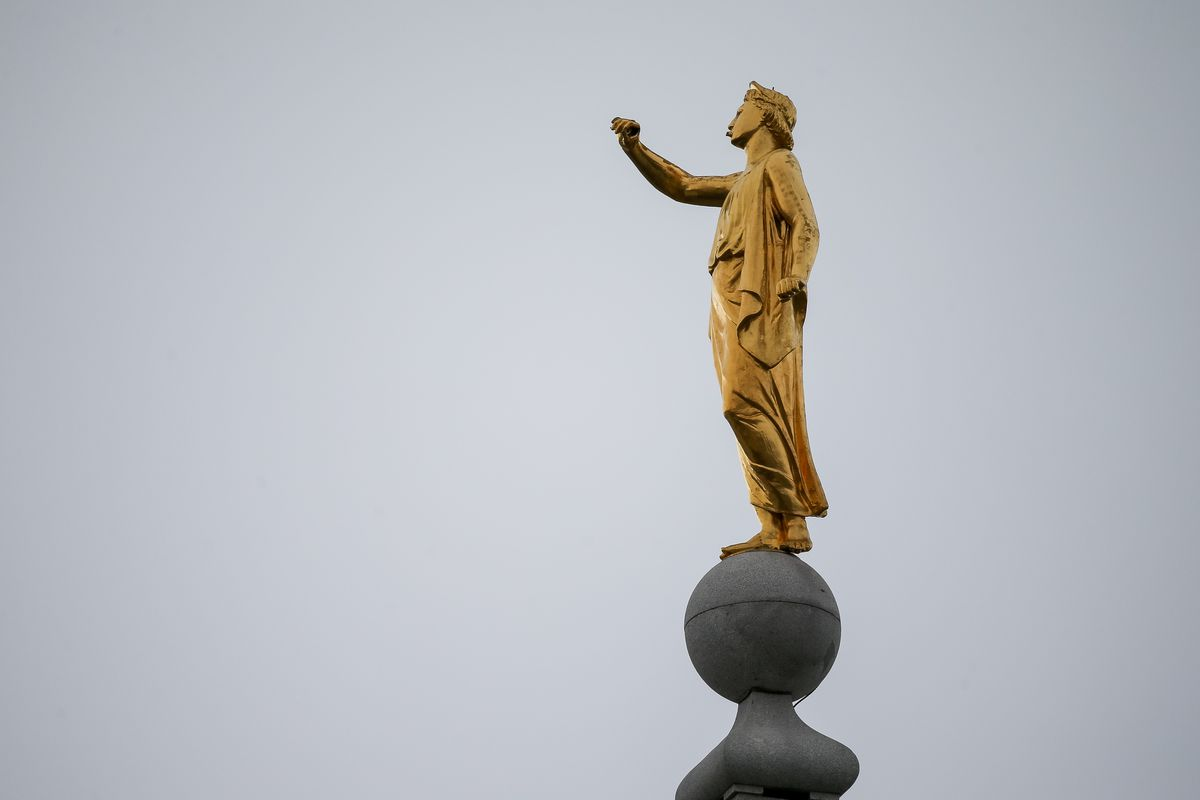 The Angel Moroni statue atop the Salt Lake Temple of The Church of Jesus Christ of Latter-day Saints lost its trumpet after a 5.7 magnitude earthquake centered in Magna hit early on Wednesday, March 18, 2020.