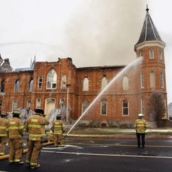 Provo City firefighters respond to a large fire at the historic Provo Tabernacle Friday, Dec. 17, 2010.