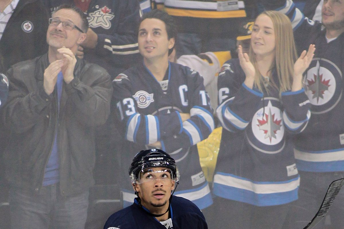 Evander Kane, hoping his trade is being announced on the Jumbotron