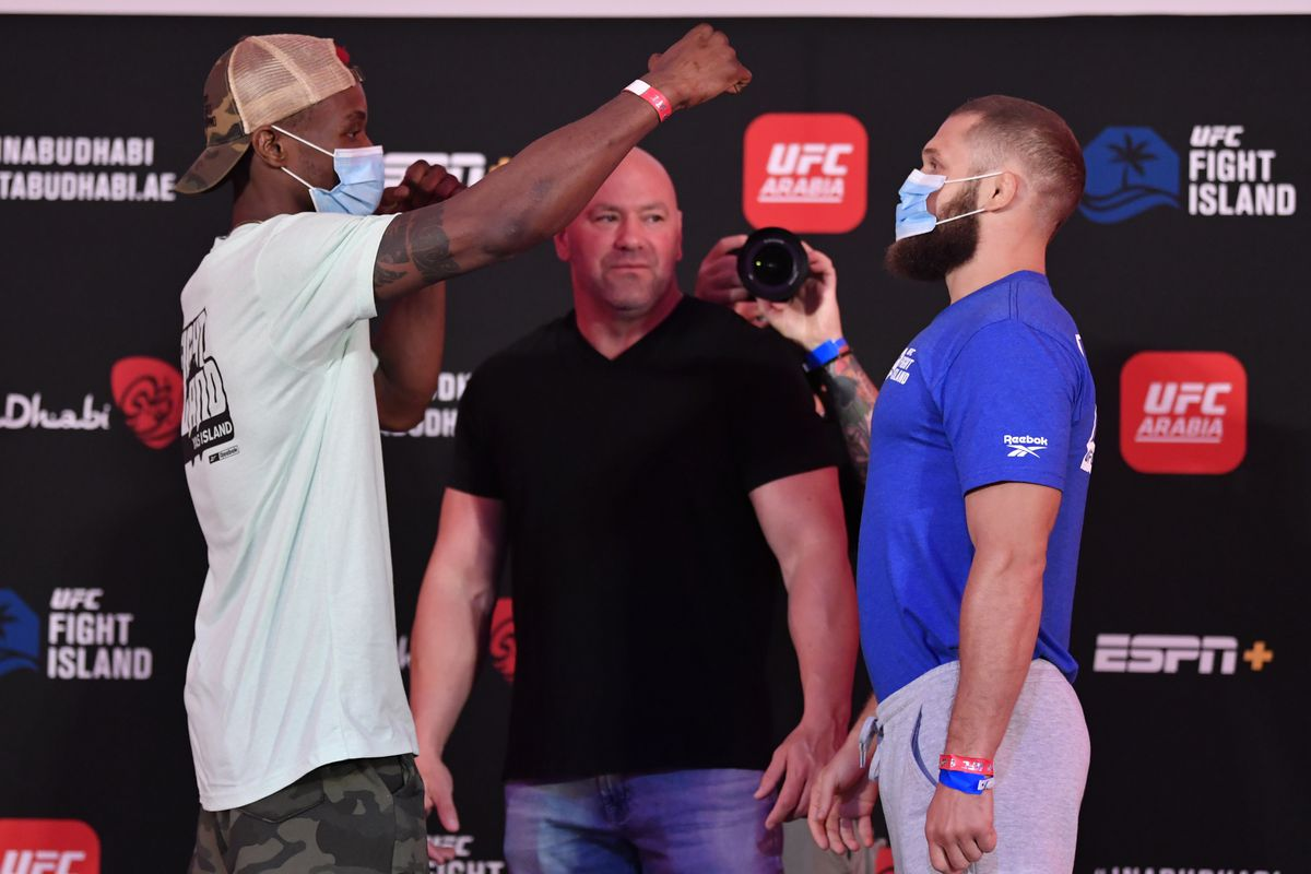 Opponents Marc Diakiese of the Democratic Republic of the Congo and Rafael Fiziev of Kazakhstan face off during the UFC Fight Night weigh-in inside Flash Forum on UFC Fight Island on July 17, 2020 in Yas Island, Abu Dhabi, United Arab Emirates.