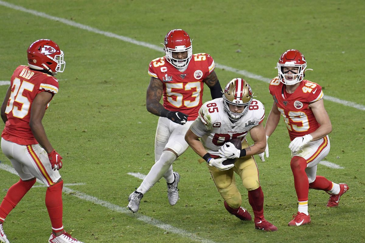 George Kittle of the San Francisco 49ers runs with the ball after catching a pass against the Kansas City Chiefs in Super Bowl LIV at Hard Rock Stadium on February 02, 2020 in Miami, Florida.