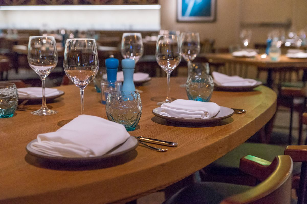 The table settings at Osteria Costa