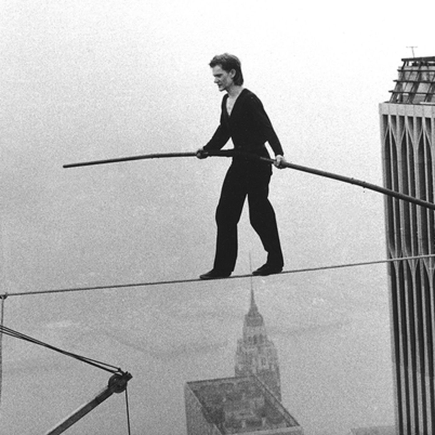The Real Story Behind Philippe Petits World Trade Center High Wire This Pic Is From Before I Ran Cables Stunt Curbed Ny
