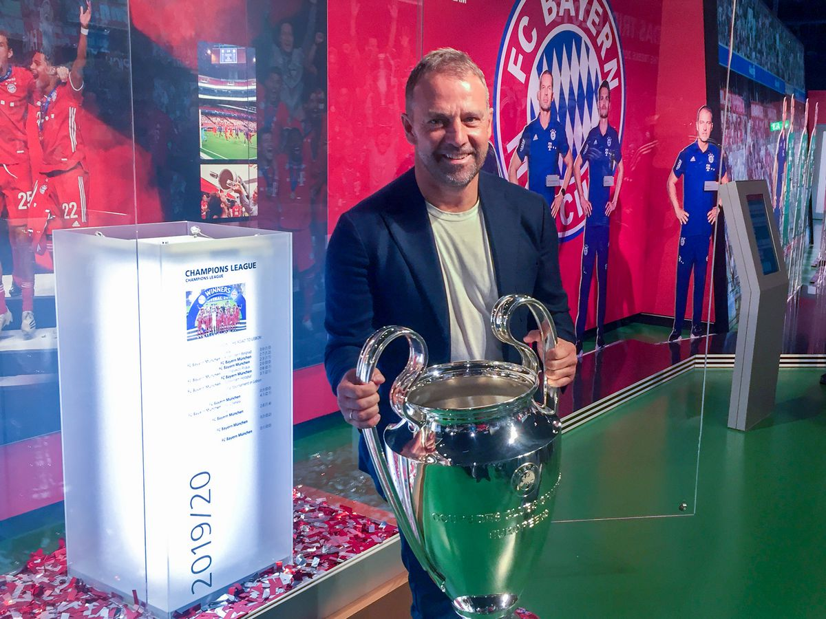 Bayern coach brings the Champions League trophy