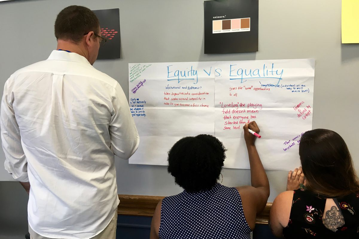 Participants at the Reimagining Education summer institute share  thoughts in a workshop.