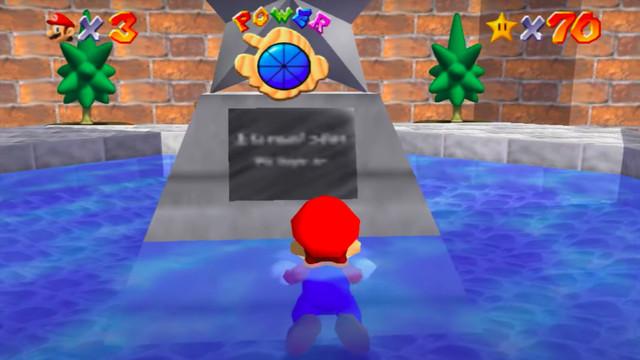The courtyard plaque in Super Mario 64.
