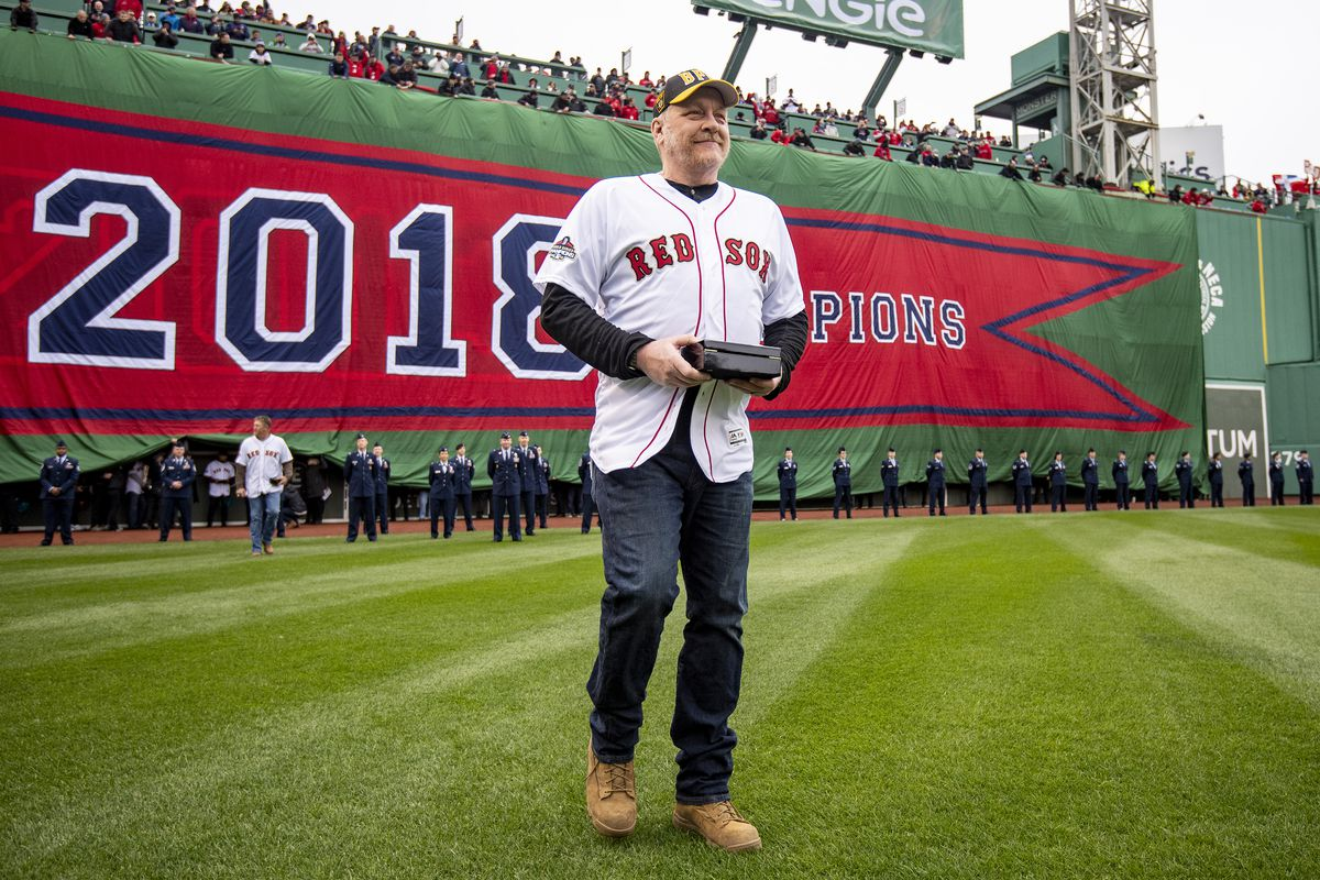 Former pitcher Curt Schilling of the Boston Red Sox is introduced during a 2018 World Series championship ring ceremony before the Opening Day game against the Toronto Blue Jays on April 9, 2019 at Fenway Park in Boston, Massachusetts.