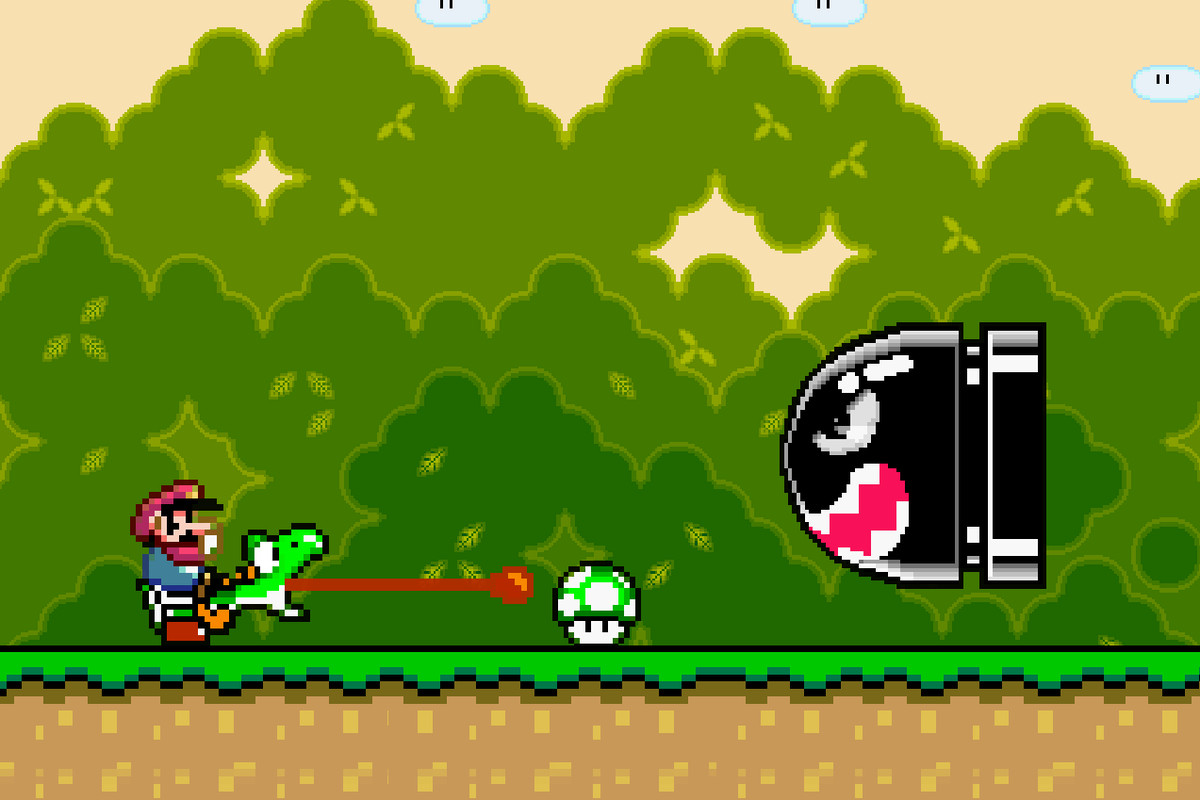 Mario smacks Yoshi's noggin to make that tongue do work