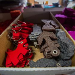 Extra felt is used to make keychains and coasters.