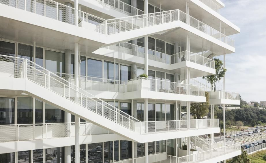 Building with white stairways on the outside
