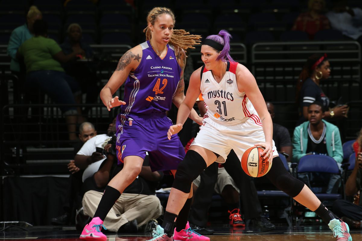 Brittney Griner, left, and Stefanie Dolson are two of the out players in the WNBA.