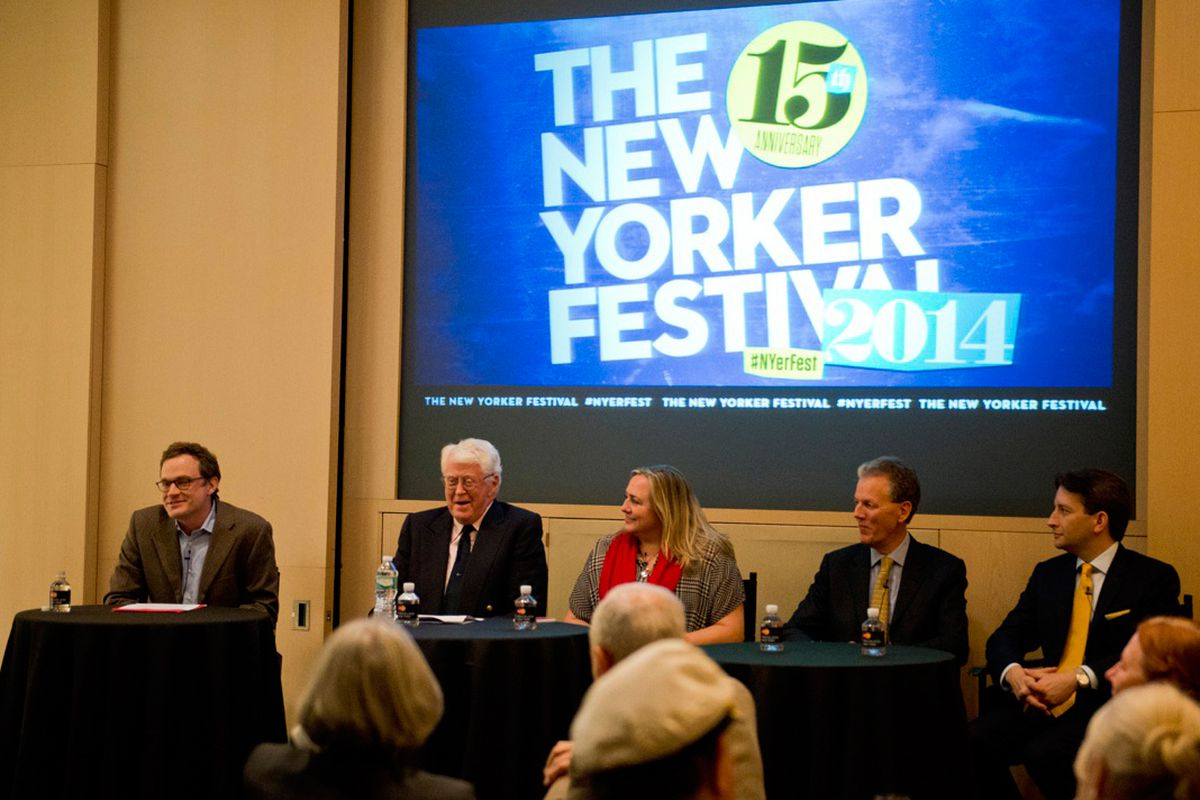 From left: moderator Patrick Radden Keefe, William Koch, Maureen Downey, Michael Egan, Jason Hernandez