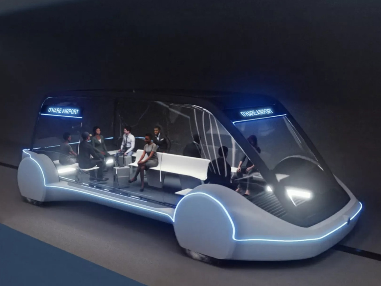 """A rendering of an """"electric skate"""" that will zip passengers between O'Hare and the Loop at speeds in excess of 100 mph."""