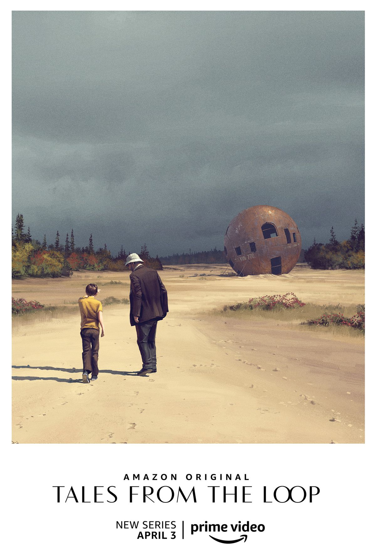 A father and son walk towards a rusted out sphere in a sandy river bed.