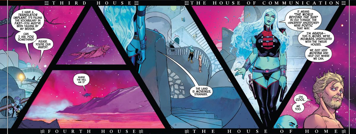 Peter Quill meets a duo of sexy blue aliens who live on the back of a flying turtle as it zooms through a magenta landscape, in Guardians of the Galaxy #9, Marvel Comics (2020).