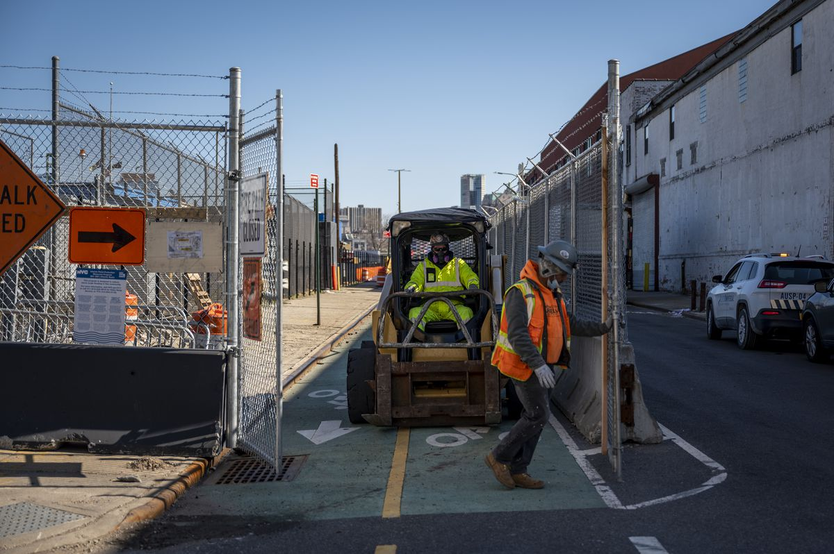 Construction work on a greenway path along the Brooklyn waterfront.