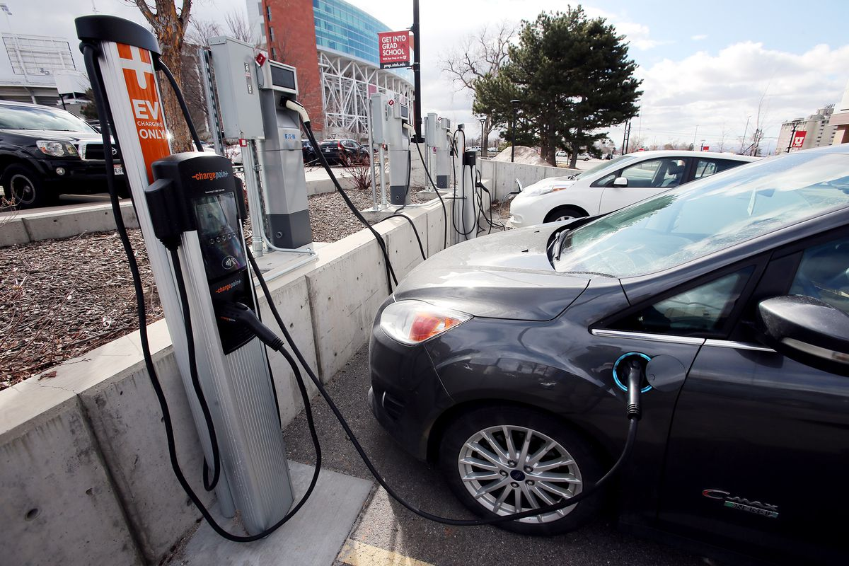 Electric cars charge at the University of Utah in Salt Lake City on Monday, Feb. 24, 2020.