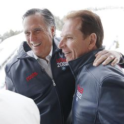 Mitt Romney, left, hugs Fraser Bullock at the Utah Olympic Park in Park City on Friday, Feb. 3, 2017. Romney was at the park for a staff celebration of the 15-year anniversary of the 2002 Olympics.