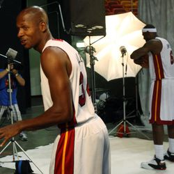 Miami Heat basketball player Ray Allen, left,  makes fun of LeBron James, right,  during the team's NBA media day in Miami, Friday, Sept. 28, 2012.