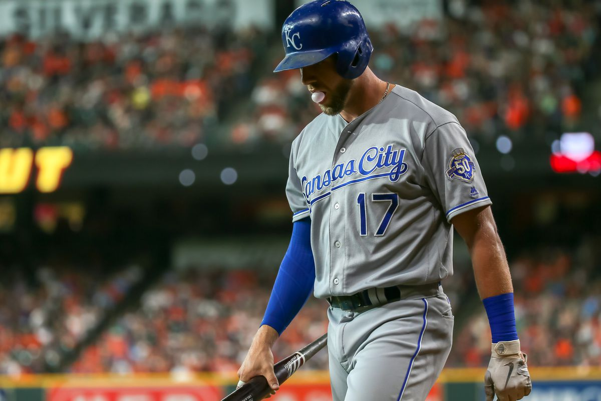 Kansas City Royals first baseman Hunter Dozier (17) reacts after striking out in the top of the second inning during the baseball game between the Kansas City Royals and Houston Astros on June 23, 2018 at Minute Maid Park in Houston, Texas.