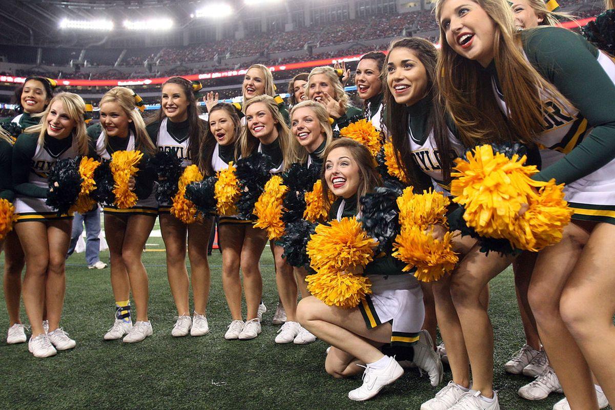 ARLINGTON, TX - NOVEMBER 26:  The Baylor Bears cheerleaders at Cowboys Stadium on November 26, 2011 in Arlington, Texas.  (Photo by Ronald Martinez/Getty Images)