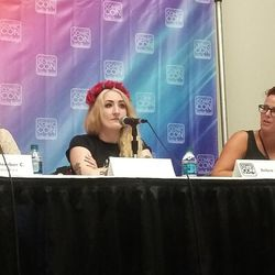 From left: Writer September C. Fawkes, podcast founder Danielle UberAlles and Utah State University professor Debra Jenson participate in a panel discussion about fandom as faith at Salt Lake Comic Con.