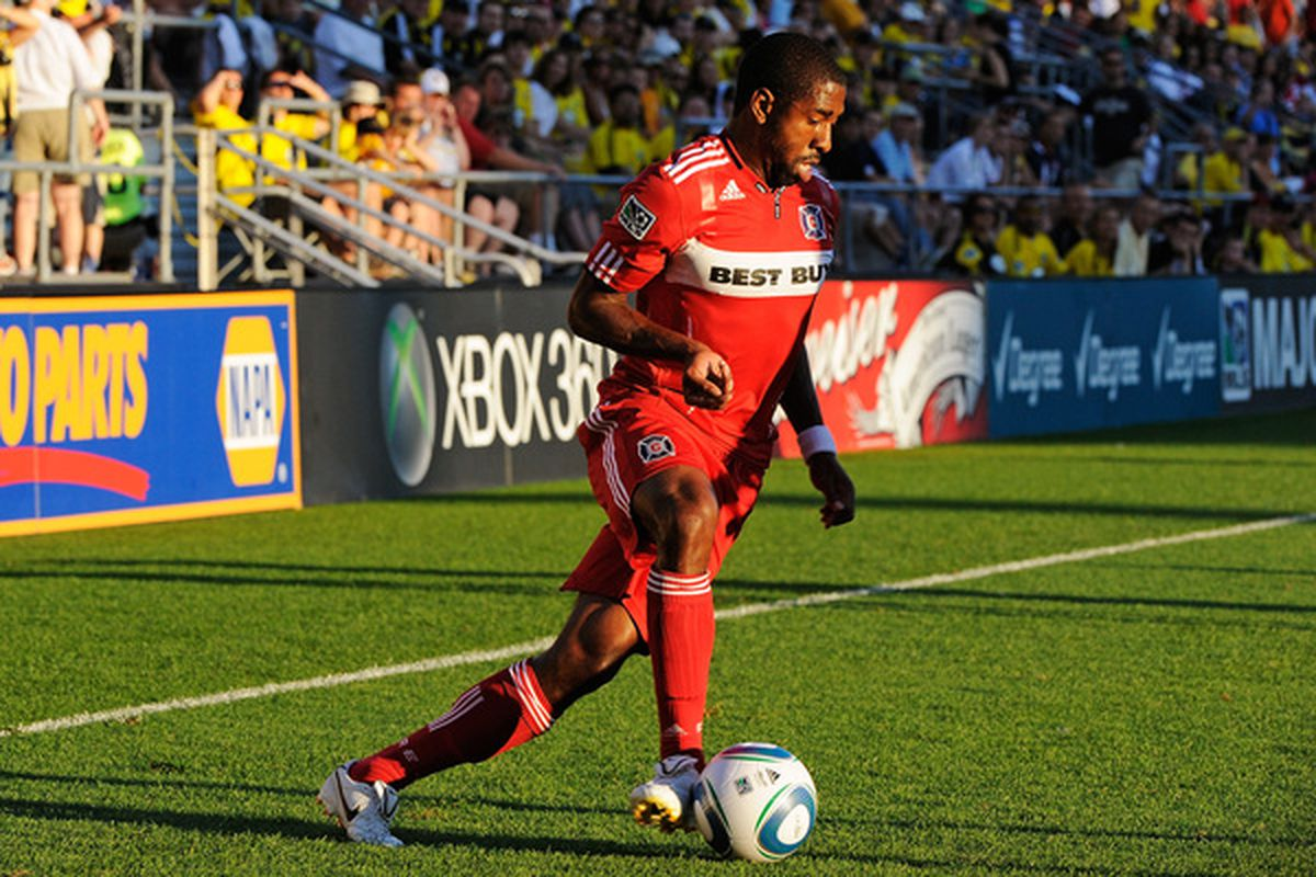 COLUMBUS OH - JULY 3:  Dasan Robinson #32 of the Chicago Fire controls the ball against the Columbus Crew on July 3 2010 at Crew Stadium in Columbus Ohio.  (Photo by Jamie Sabau/Getty Images)