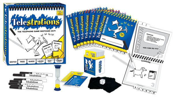 The contents of the original 8-player version of Telestrations includes a sand timer.