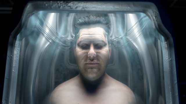 A realistic CG image of a shirtless man, seen from the shoulders up, in some sort of blue and white cradle, with translucent tubing attached to his head