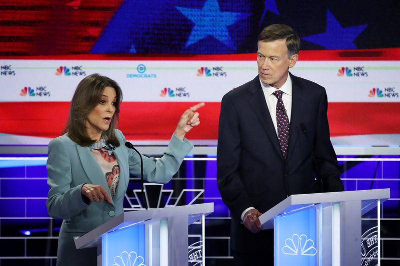 Democratic presidential candidate Marianne Williamson onstage at the first debate of the 2020 election.